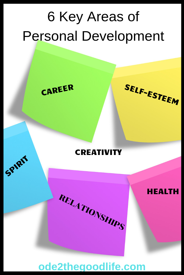 Sticky notes with 6 key areas of personal development